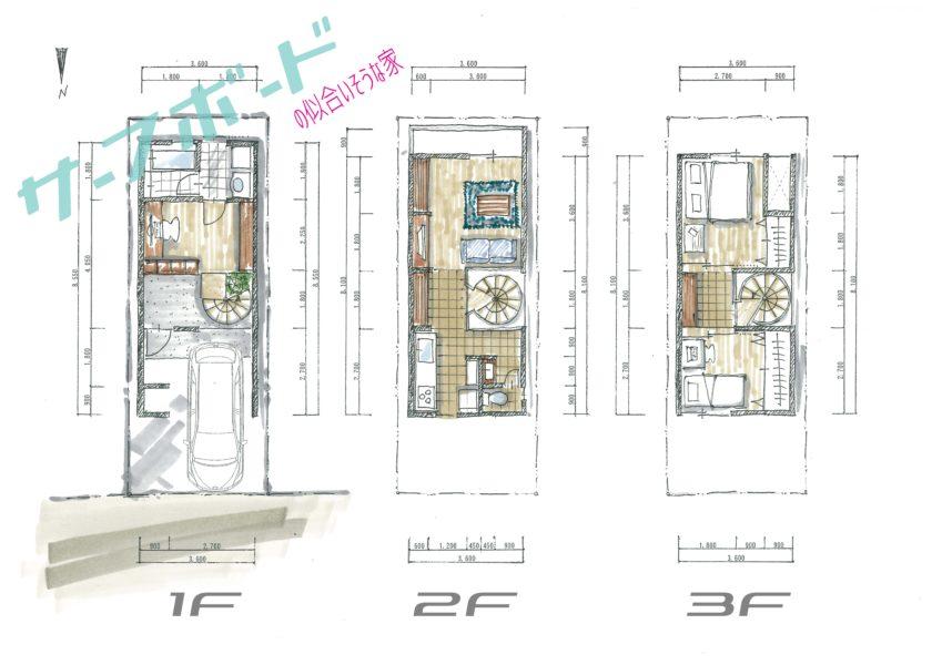 間口3.6mの家〜サーフボードの似合いそうな家平面